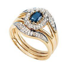 9ct Gold Mini Sapphire Trio Ring