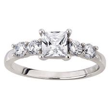 Brilliance Sterling Silver Princess Cut CZ Ring