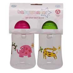 Baby Wonder Wide Neck Bottle with Variable Flow 2 Pack Assorted Colours
