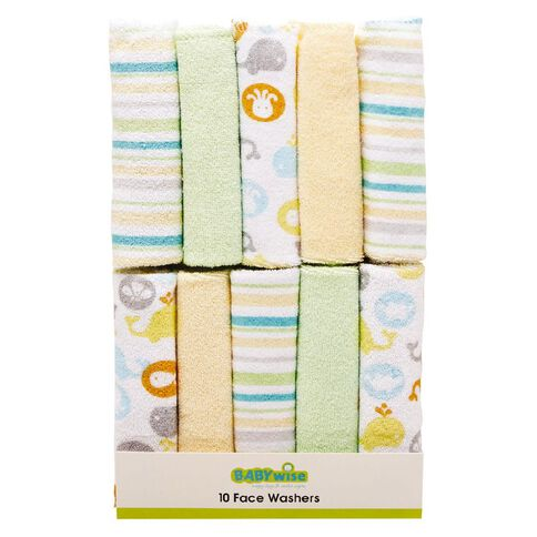 Lullaboo Facewasher Set Green 10 Pack