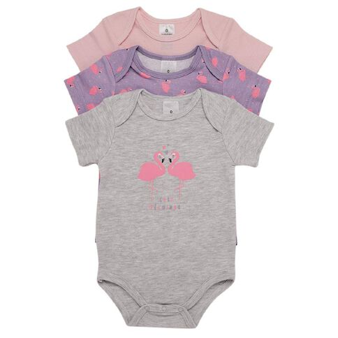 Hippo + Friends Baby Girl Short Sleeve Print Bodysuit 3 Pack