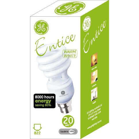 General Electric Bulb CFL Spiral 20W WW B22