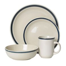 Necessities Brand Dinner Set Blue Rim 16 Piece