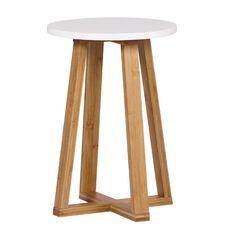 Solano Bamboo Stool White Seat