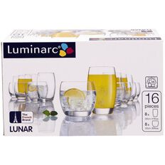 Luminarc Lunar Tumbler Set 16 Piece 320ml/350ml