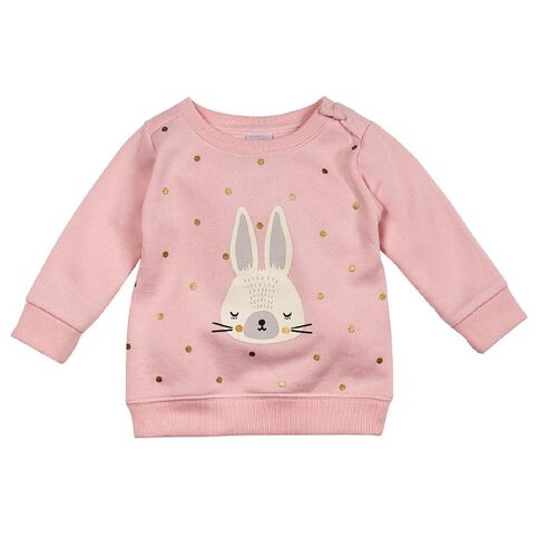 Hippo + Friends Baby Girl Pull-on Print Front Sweatshirt
