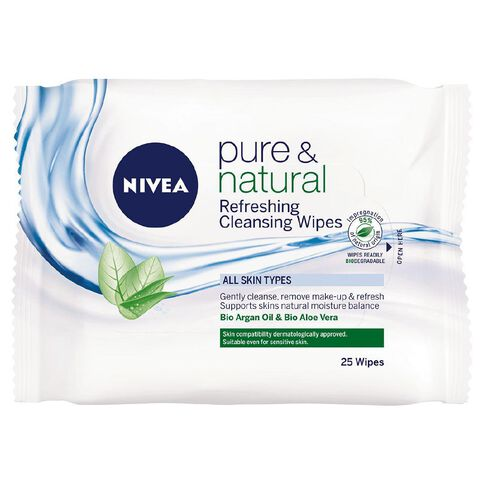 Nivea Pure & Natural Facial Cleansing Wipes 25 Pack