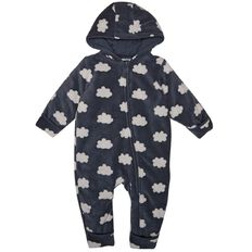 Hippo + Friends Baby Boy All Over Print Microfleece Coverall