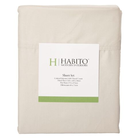 Habito Sheet Set 600 Thread Count Moonbeam Queen
