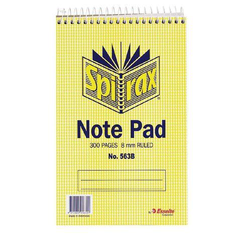 Spirax Notebook Spiral No.563B 300pg 8mm Ruled 200 x 127mm