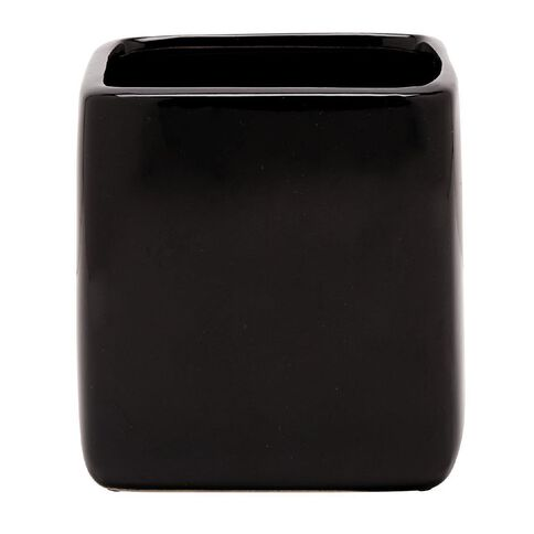 Ceramic Houseplant Deco Cube Black 12cm