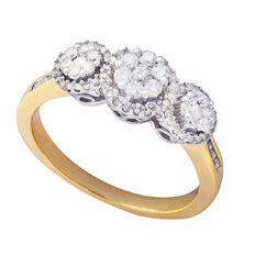 1/2 Carat of Diamonds 9ct Gold Diamond Three Cluster Ring