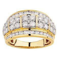 2 Carat Diamond 9ct Gold Diamond Channel Ring
