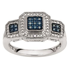 1/10 Carat of Diamonds Sterling Silver Blue and White Diamonds Ring
