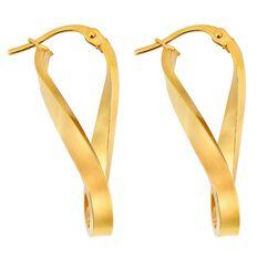 9ct Gold Fancy Long Twist Hoop Earrings