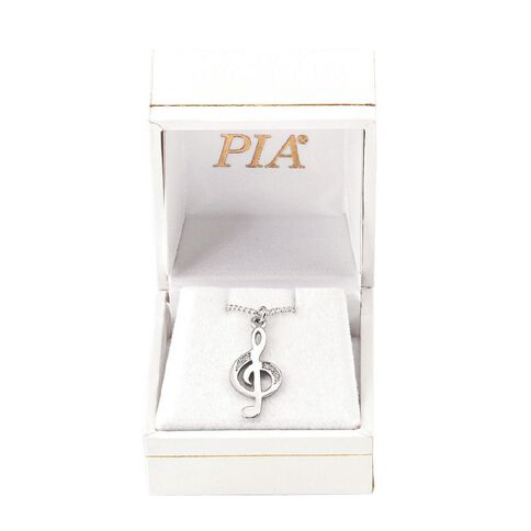 Pia Notes Sterling Silver Diamond Treble Clef Pendant