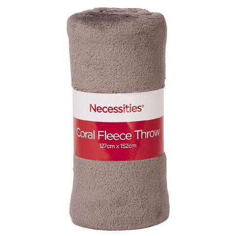 Necessities Brand Throw Fleece Coral 127cm x 152cm Assorted
