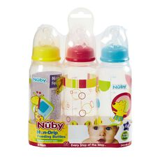 Nuby Standard Neck Printed Bottle 240ml 3 Pack