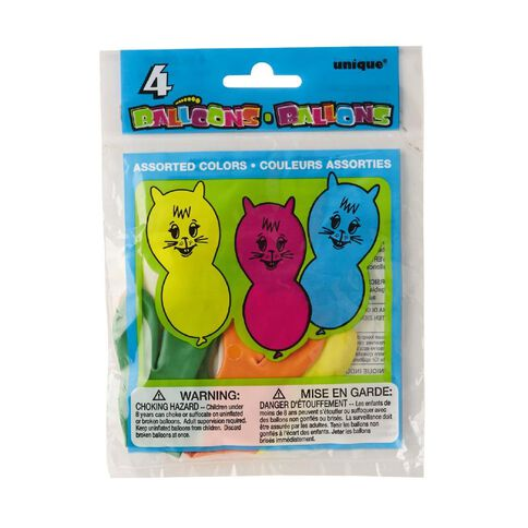 Unique Balloons Animals 4 Pack