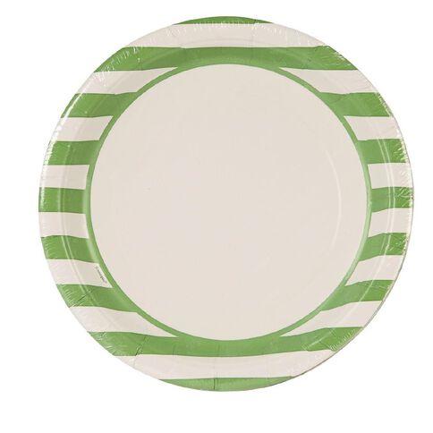 Unique Plates Stripes Lime 23cm 8 Pack