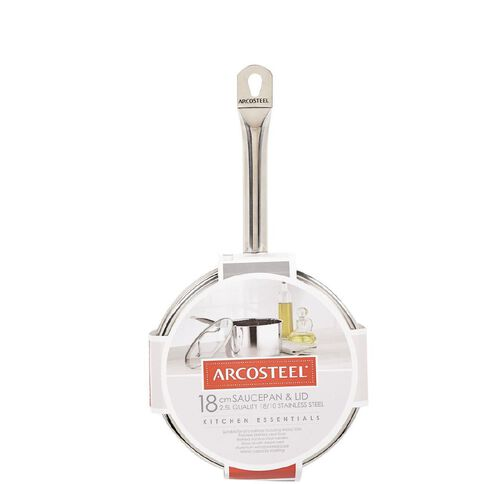 Arcosteel Kitchen Essentials Stainless Steel Saucepan 18cm x 12cm