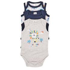 Hippo + Friends Baby Unisex Sleeveless Bodysuit 3 Pack