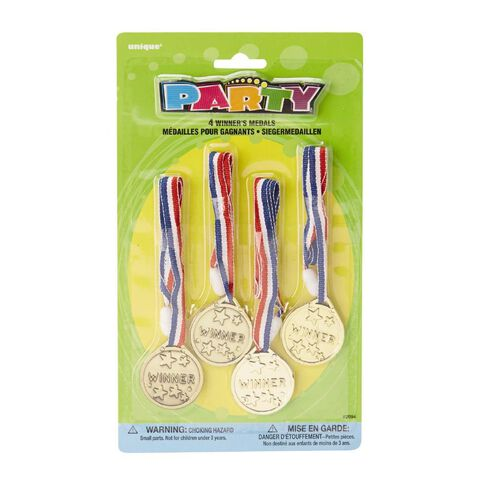 Unique Party Favours Medals Winners 4 Pack