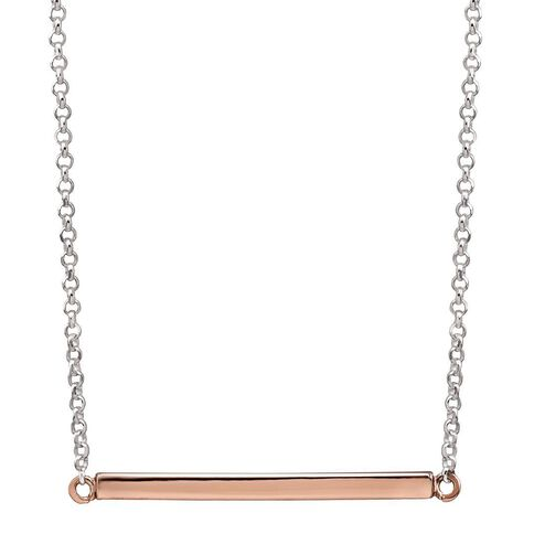 Sterling Silver Rose Gold Plated Bar Necklace