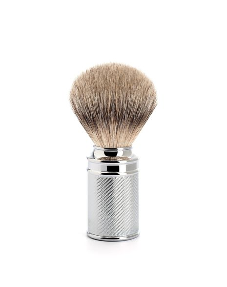 Silver Tip Badger Brush - Chrome