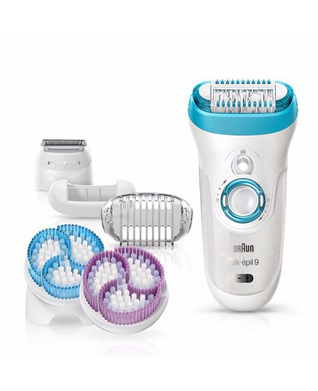 Silk Epil 9 Wet/Dry Epilator 4 in 1 Hair Removal and Exfoliation System with 6 extras