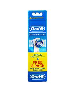 Cross Action Toothbrush Head Refills 4 Pack plus FREE Precision Clean 2 Pack