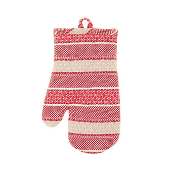 100% cotton oven mitt with striped jacquard weave
