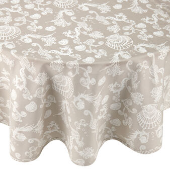 100% cotton round tablecloth with marine print