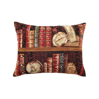 Gobelin cushion with antique books pattern