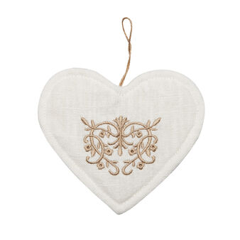 Heart-shaped pot holder with embroidery