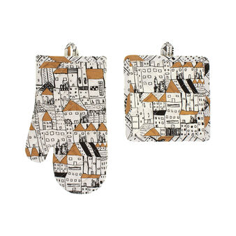 Oven mitt and pot holder set in 100% cotton
