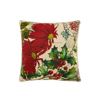 Cushion with vintage holly and Christmas star motif