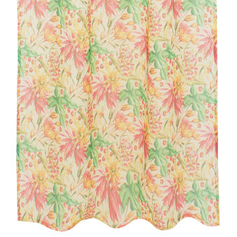 Linen blend curtain with tropical flowers print