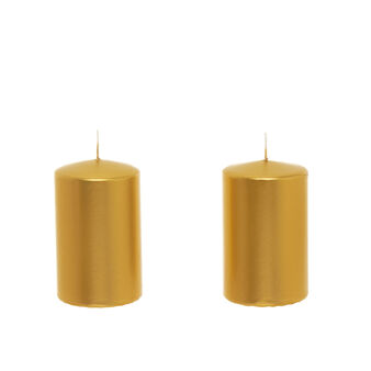 Set of 2 candles in shiny gold wax