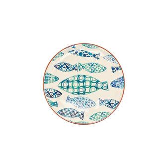 Piatto piano ceramica portoghese pesci