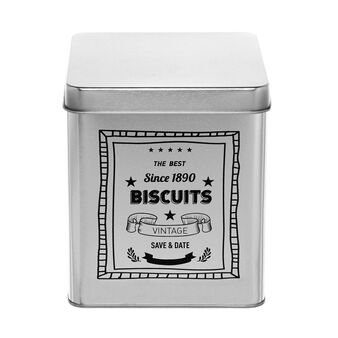 Tin container with Biscuits print