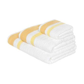 Asciugamano spugna bordo goffrato a contrasto