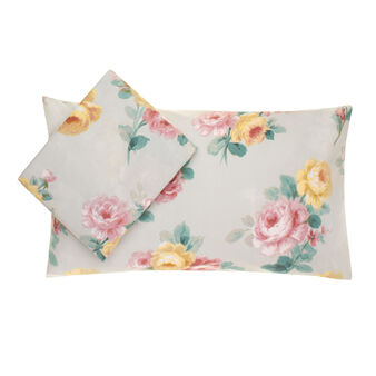 Cotton duvet cover set with rose print
