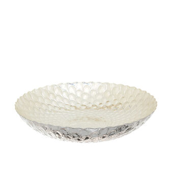 Glass dessert bowl with scalloped rim