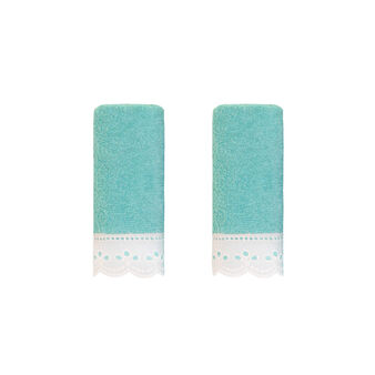 Pair of face cloths with broderie anglaise trim