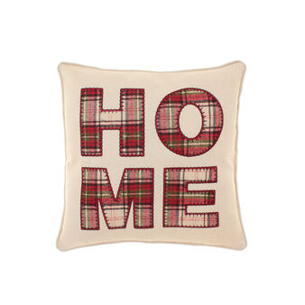 Cushion with tartan HOME lettering