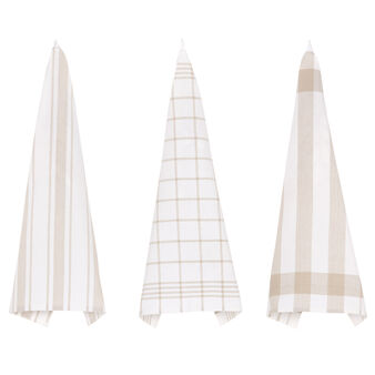 3-pack patterned tea cloths in 100% cotton