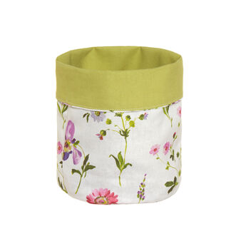 Linen blend round basket with Orchid digital print