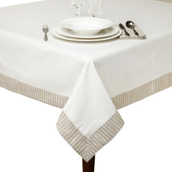 Cotton table cloth with striped border