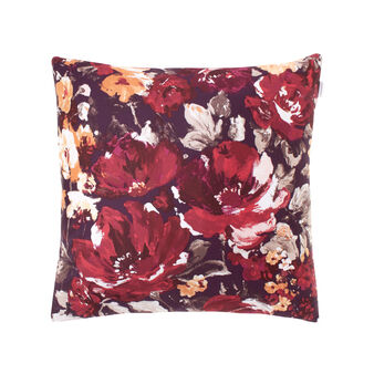 Square cushion in floral cotton satin